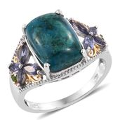 Table Mountain Shadowkite, Catalina Iolite, Russian Diopside 14K YG and Platinum Over Sterling Silver Ring (Size 9.0) TGW 8.37 cts.
