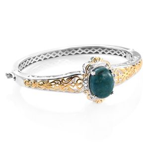 KARIS Collection - Table Mountain Shadowkite ION Plated 18K YG and Platinum Bond Brass Bangle (6.75 in) TGW 9.10 cts.