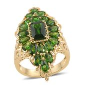 Russian Diopside 14K YG Over Sterling Silver Elongated Ring (Size 9.0) TGW 6.59 cts.