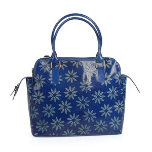 Vivid by Sukriti Handcrafted Light Blue Daisy Flower Embossed Genuine Leather RFID Tote (14x5.5x11 in) with Removable Strap (58 in)