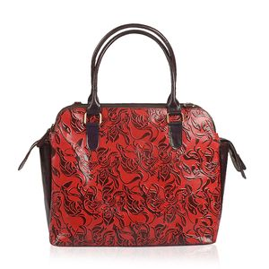 Vivid by Sukriti Red Abstract Leather Tote Bag