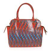 Vivid by Sukriti Ocean Waves Leather Tote Bag