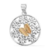 14K YG and Platinum Over Sterling Silver Floral Pendant without Chain (5.08 g)