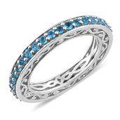 Malgache Neon Apatite Platinum Over Sterling Silver Eternity Ring (Size 5.0) TGW 1.27 cts.