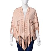 Peach 30% Polyester and 70% Suede Laser Cut Flower Pattern Evening Shawl Wrap with Fringes (One Size)