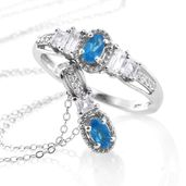 Malgache Neon Apatite, White Topaz Platinum Over Sterling Silver Ring (Size 5) and Pendant With Chain (20 in) TGW 1.25 cts.