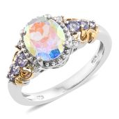 Mercury Mystic Topaz, Tanzanite, Cambodian Zircon 14K YG and Platinum Over Sterling Silver Ring (Size 7.0) TGW 3.08 cts.