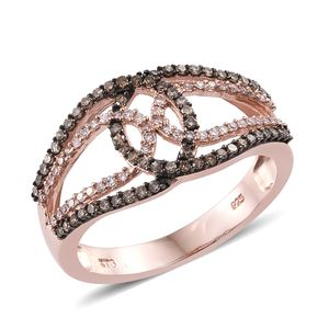 Natural Pink and Champagne Diamond Black Rhodium & 14K RG Over Sterling Silver Ring (Size 8.0) TDiaWt 0.50 cts, TGW 0.50 cts.