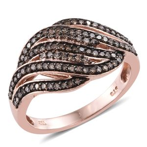 Champagne Diamond Black Rhodium & 14K RG Over Sterling Silver Ring (Size 10.0) TDiaWt 0.50 cts, TGW 0.50 cts.