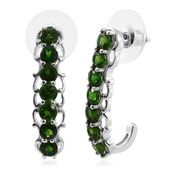 Russian Diopside Platinum Over Sterling Silver J-Hopo Earrings TGW 3.90 cts.