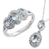 Santa Maria Aquamarine, Cambodian Zircon Platinum Over Sterling Silver Ring (Size 6) and Pendant With Chain (20 in) TGW 1.90 cts.