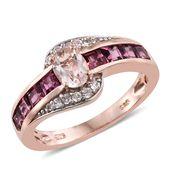 Marropino Morganite, Orissa Rhodolite Garnet, Cambodian Zircon 14K RG Over Sterling Silver Ring (Size 9.0) TGW 2.37 cts.