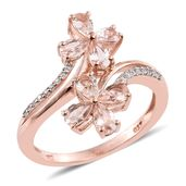 Marropino Morganite, Cambodian Zircon 14K RG Over Sterling Silver Floral Bypass Ring (Size 9.0) TGW 1.51 cts.