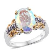 Mercury Mystic Topaz, Tanzanite 14K YG and Platinum Over Sterling Silver Ring (Size 10.0) TGW 7.89 cts.