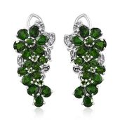 Russian Diopside, Cambodian Zircon Platinum Over Sterling Silver Floral Earrings TGW 7.54 cts.