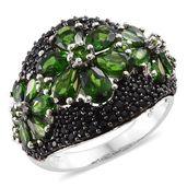 Russian Diopside, Thai Black Spinel Black Rhodium & Platinum Over Sterling Silver Floral Cluster Ring (Size 8.0) TGW 8.66 cts.