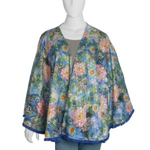Multi Color Floral Printed 100% Polyester Ruana (28 in)