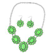 TLV Green Howlite Black Oxidized Silvertone & Stainless Steel Earrings and Bib Necklace (22 in) TGW 250.00 cts.