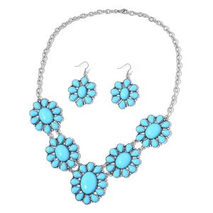 TLV Baby Blue Howlite Black Oxidized Silvertone & Stainless Steel Earrings and BIB Necklace (22 in) TGW 250.00 cts.