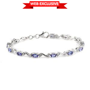 Premium AAA Tanzanite, Cambodian Zircon Platinum Over Sterling Silver Bracelet (7.50 In) TGW 4.28 cts.