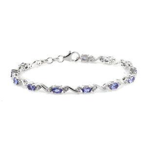 Premium AAA Tanzanite, Cambodian Zircon Platinum Over Sterling Silver Bracelet (7.50 In) TGW 4.28 cts.