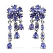 Premium AAA Tanzanite Platinum Over Sterling Silver Floral Dangle Earrings TGW 3.22 cts.