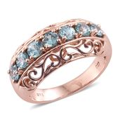 Cambodian Blue Zircon 14K RG Over Sterling Silver Openwork Band Ring (Size 6.0) TGW 2.56 cts.