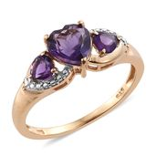 Amethyst 14K YG Over Sterling Silver 3 Stone Ring (Size 5.0) TGW 1.62 cts.