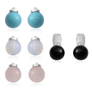 Multi Gemstone Silvertone Set of 5 Earrings TGW 86.00 cts.