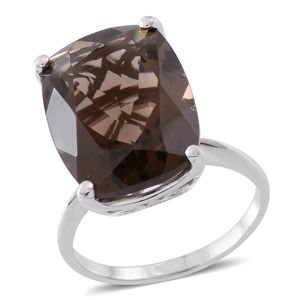 Web Exclusive Doorbuster Brazilian Smoky Quartz Sterling Silver Ring (Size 6.0) TGW 20.00 cts.