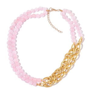 Galilea Rose Quartz Goldtone Double Strand Link Necklace (20 in) TGW 230.50 cts.