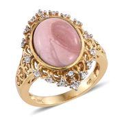 Australian Pink Opal, Cambodian Zircon 14K YG Over Sterling Silver Ring (Size 6.0) TGW 6.32 cts.