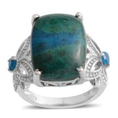 Table Mountain Shadowkite, Malgache Neon Apatite Platinum Over Sterling Silver Butterfly Shank Ring (Size 6.0) TGW 12.22 cts.