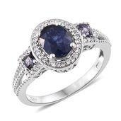 Masoala Sapphire, Catalina Iolite, Cambodian Zircon Platinum Over Sterling Silver Ring (Size 6.0) TGW 3.68 cts.