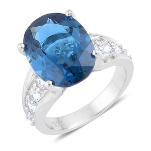 London Blue Topaz, White Topaz Sterling Silver Cocktail Ring (Size 8.0) TGW 12.00 cts.