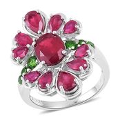 Niassa Ruby, Russian Diopside Sterling Silver Ring (Size 9.0) TGW 6.38 cts.