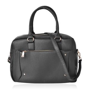 Black Faux Leather Doctor Bag (14x6.5x10.5 in) with Standing Studs and Removable Shoulder Strap (42 in)