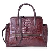 Lifestyle Must Have Brown Crocodile Embossed Faux Leather Tote Bag with Removable Strap and Standing Studs (16.5x5x13 in)