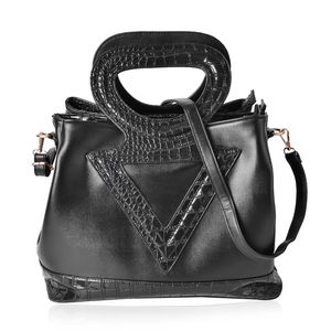 Black Crocodile Pattern Faux Leather Tote Bag with Standing Studs, Removable Shoulder Strap and Half Moon Handle (14.5x7.5x11.5 in)