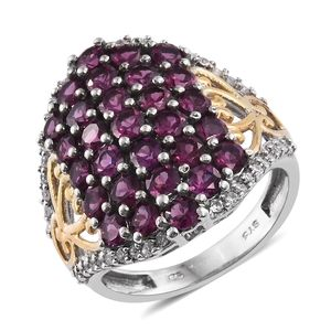 Deepak's Dazzling Deals Purple Garnet, Cambodian Zircon 14K YG and Platinum Over Sterling Silver Cluster Ring (Size 5.0) TGW 6.04 cts.