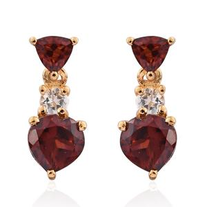 KARIS Collection - Mozambique Garnet, White Topaz ION Plated 18K YG Brass Earrings TGW 2.88 cts.