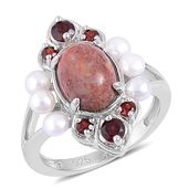 Dan's Jewelry Selections Fossil Coral, Mozambique Garnet, Freshwater Pearl Sterling Silver Ring (Size 10.0) TGW 2.55 cts.