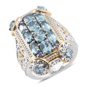 Cambodian Blue Zircon, Tanzanite 14K YG and Platinum Over Sterling Silver Elongated Ring (Size 7.0) TGW 5.61 cts.