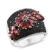 Red Sapphire, Thai Black Spinel Black Rhodium & Platinum Over Sterling Silver Midnight Floral Ring (Size 9.0) TGW 4.43 cts.