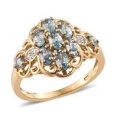 Cambodian Blue Zircon, Cambodian Zircon 14K YG Over Sterling Silver Ring (Size 7.0) TGW 3.04 cts.