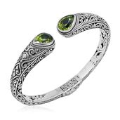 Doorbuster Bali Legacy Collection Hebei Peridot Sterling Silver Engraved Cuff (7.50 in) TGW 7.22 cts.