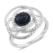 Blue Diamond (Ir) Black Rhodium & Platinum Over Sterling Silver Accent Ring (Size 8.0)