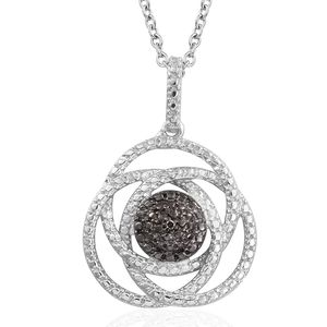 Champagne Diamond Accent Black Rhodium & Platinum Over Sterling Silver Pendant With Stainless Steel Chain (20 in)