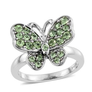 Stainless Steel Butterfly Ring (Size 6.0) Made with SWAROVSKI Green Crystal