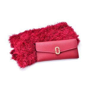 Red Faux Leather Trifold Wallet (7.2x3.4 in) and Red 100% Acrylic Magic Scarf (One Size)